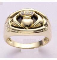 10K Solid Yellow Gold Onxy Men's Claddagh Ring Traditional Irish Ring